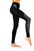 Леггинсы для фитнеса, спортивные лосины черные из серой вставкой и сеткой Valeri 1216, фото 1
