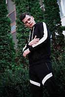 """Стильная мужская демисезонная кофта с капюшоном """"Лампас"""" черная с белыми полосками - размер М"""
