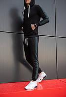 """Демисезонная мужская толстовка с капюшоном """"Лампас"""" черная с полосками цвета хаки"""