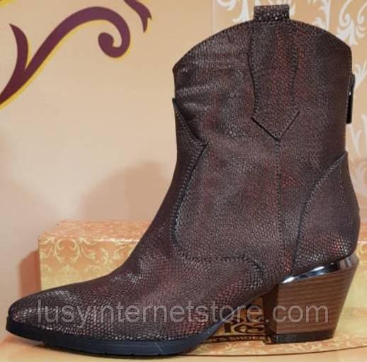 Ботинки коричневые женские демисезонные на каблуке от производителя модель КЛК-93-3