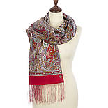 Ода грёзам 1560-55, павлопосадский шарф шерстяной  с шелковой бахромой, фото 2