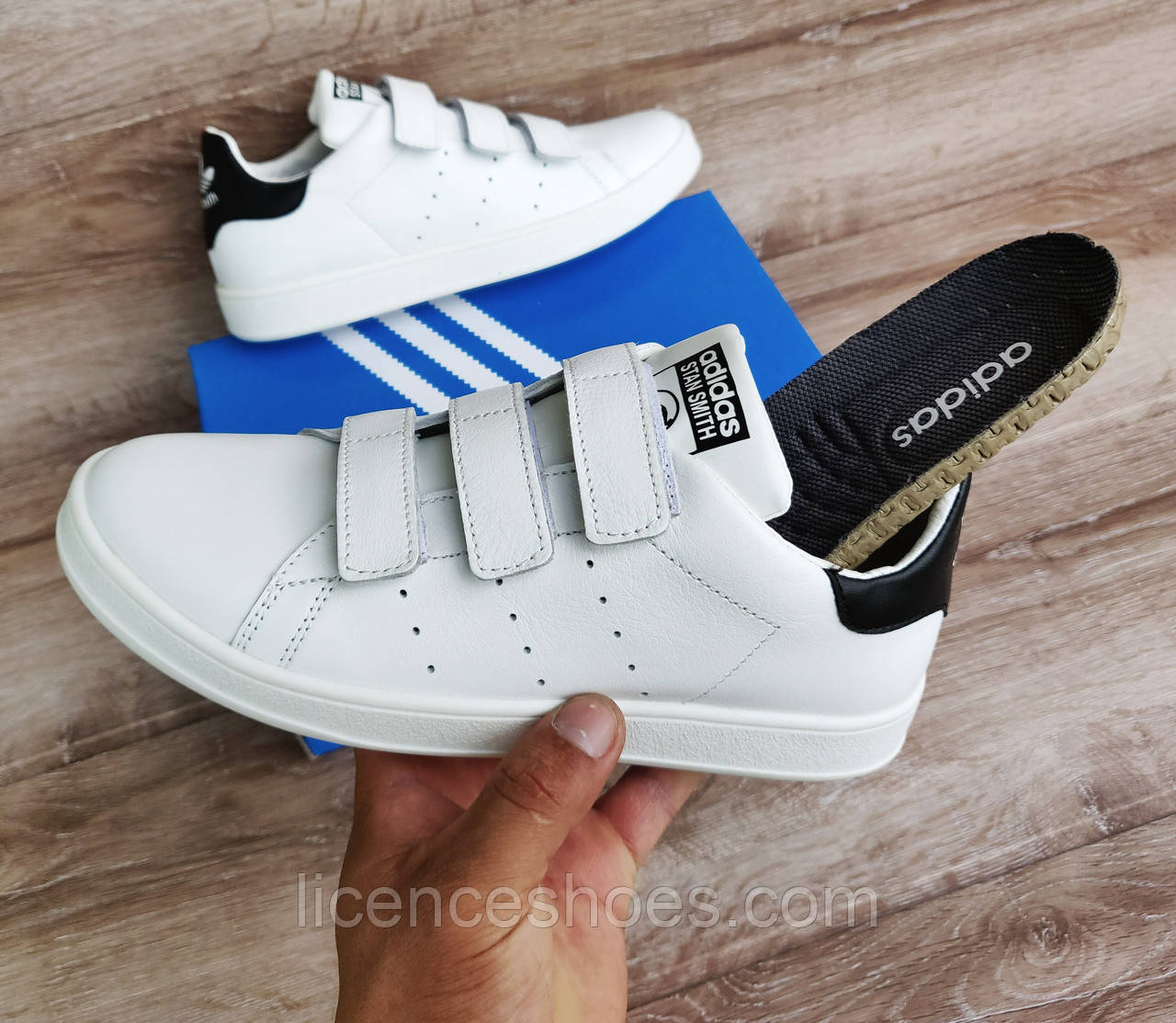Мужские кроссовки Adidas Stan Smith На Липучке. Натуральная кожа