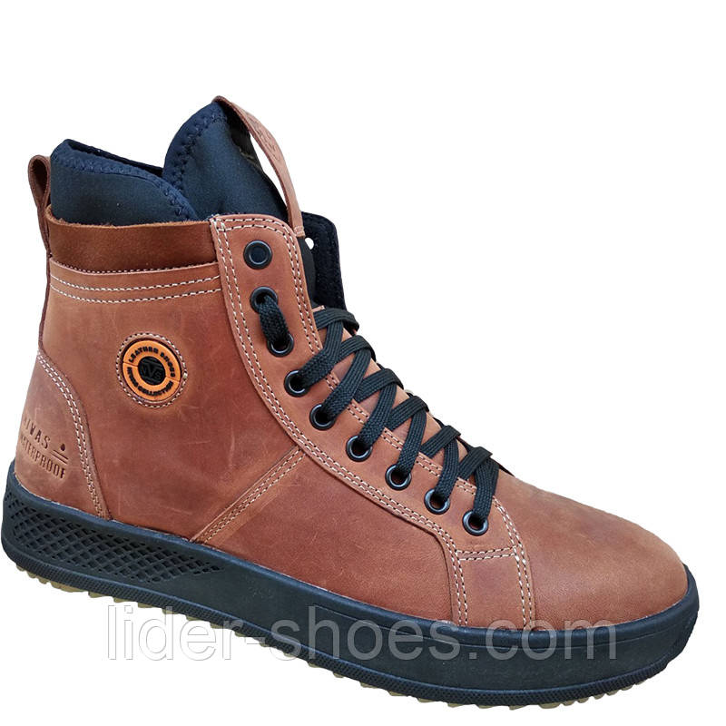 Мужские ботинки на шнуровке коричневого цвета
