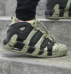 Мужские кроссовки Nike Air More Uptempo Khaki black 40-45рр. Живое фото (Реплика ААА+)