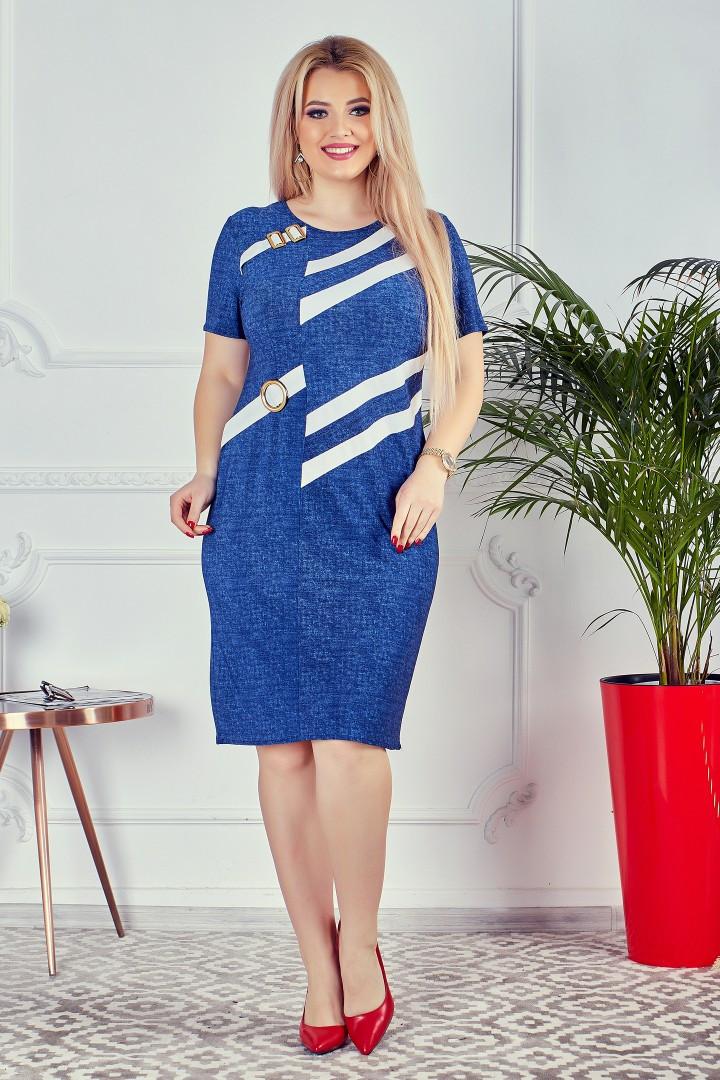 """Облегающее офисное миди-платье """"DANDY"""" с коротким рукавом (большие размеры)"""