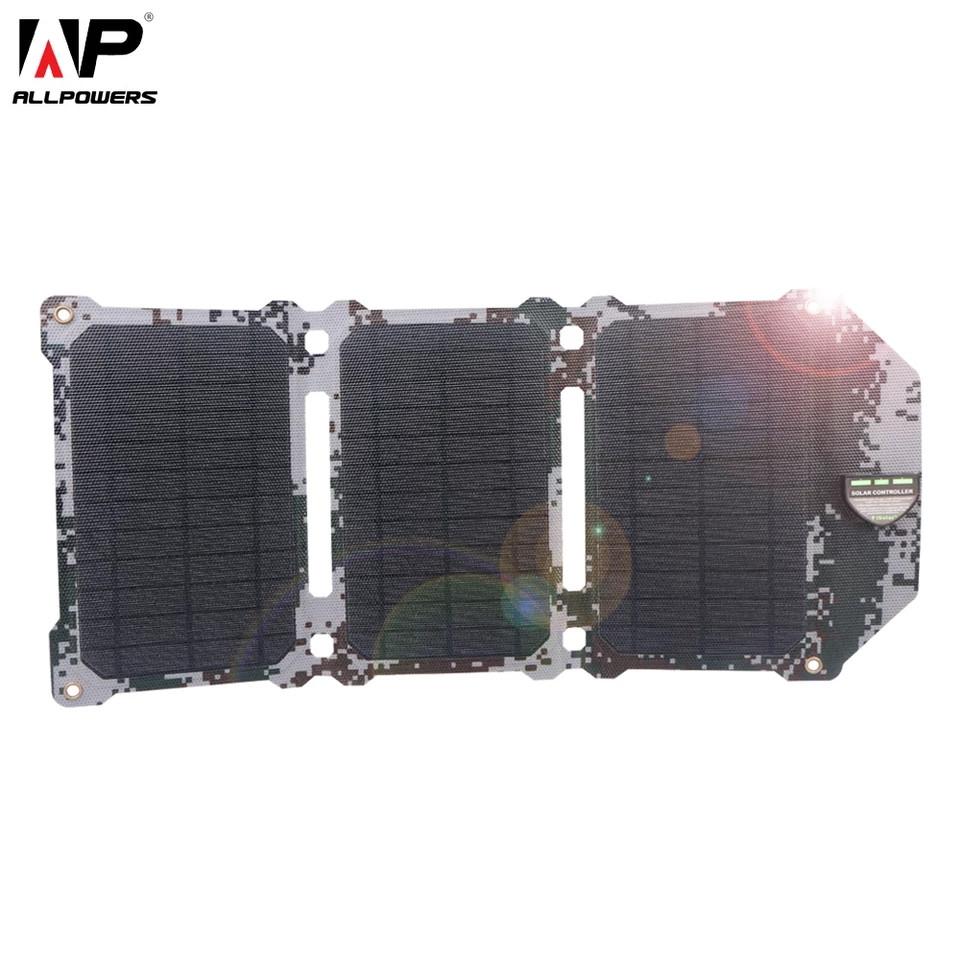 Ультратонкое зарядное устройство на солнечных панелях AllpowersAP- ES-004-CAM (Камуфляж) 21W технология ETFE