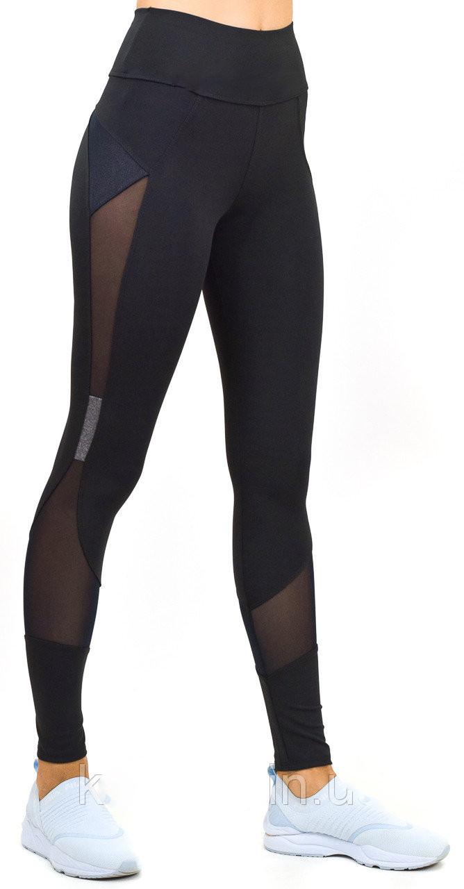 Леггинсы для фитнеса и йоги, спортивные лосины c сеткой и высокой посадкой модель Матрица серая, фото 1
