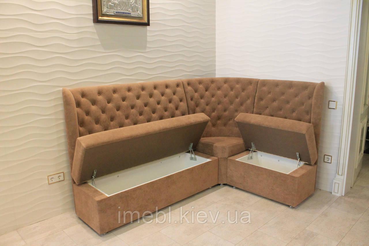 Кухонный диван с ящиками для хранения (Светло-коричневый)