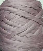 Толстая, крупная пряжа 100% шерсть 1кг (40м). 26 мкрн. Цвет: Чайная роза. Топс. Лента для пледов.
