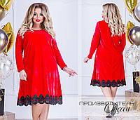 Красивое бархатное женское платье свободного кроя с отделкой кружева 48-50,52-54, 56-58,60-62
