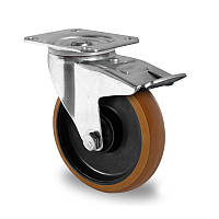 Поворотное колесо с тормозом диаметр 100 мм полиамид/полиуретан шариковый подшипник нагрузка 200 кг