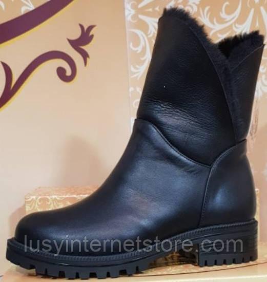 Ботинки черные зимние кожаные женские от производителя модель КЛУ-54-1