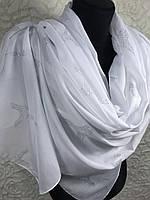 """Белый хлопковый широкий шарф """"Свадьба в Париже"""" (цв4)"""