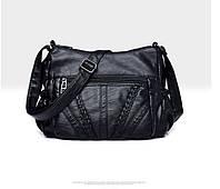 Новинка 2020 года! Классическая черная сумка из эко-кожи для девушек и женщин, с модным  дизайном, на ремне.