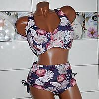66 размер (чашка J) ! Модельный коричневый купальник для женщин с пышной грудью, принт цветы пионы.