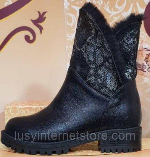 Ботинки черные зимние кожаные женские от производителя модель КЛУ-54-3