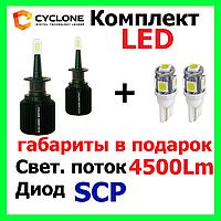Комплект светодиодные лед лампы Cyclone LED H1,H11,H7,9006 5000K 4500Lm CSP type 21