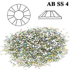 Камни Стразы для Ногтей Diamond Crystal AB SS 4 Хамелеон Кристал Упаковка 1440 шт, Декор Ногтей