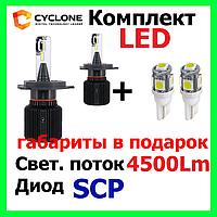Светодиодные лед лампы на авто Cyclone LED H4 H/L 5000K 4500Lm CSP type 21