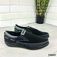 """Туфли мужские, черные """"Jayte"""" эко нубук, мокасины мужские, мужская обувь"""