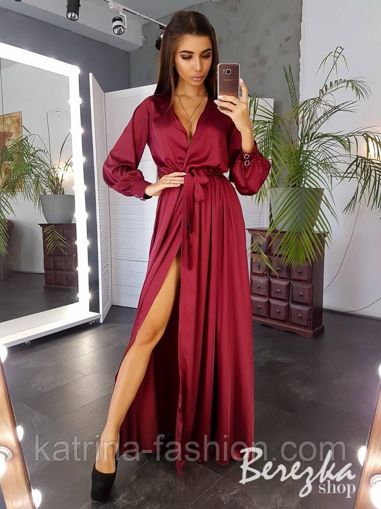 Женское элегантное платье в пол на запах расцветках)