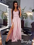 Женское шелковое платье с разрезом макси (в расцветках), фото 3