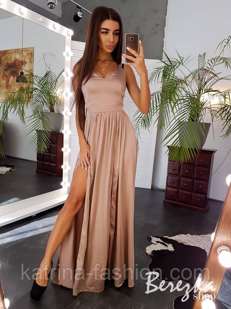 Женское шелковое платье с разрезом макси (в расцветках)