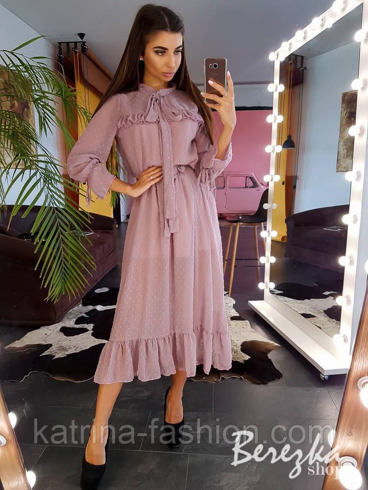 Женское платье в горошек с рюшами (в расцветках)