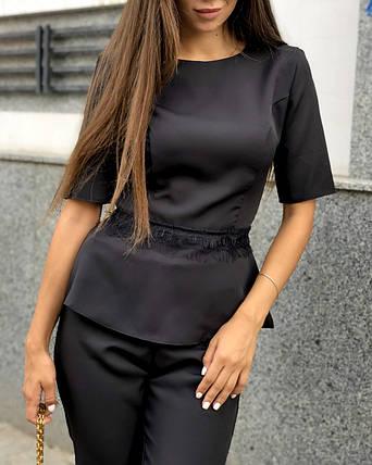 Женский стильный брючный костюм-двойка кофта и брюки /черный, 42-46, ft-448/, фото 2