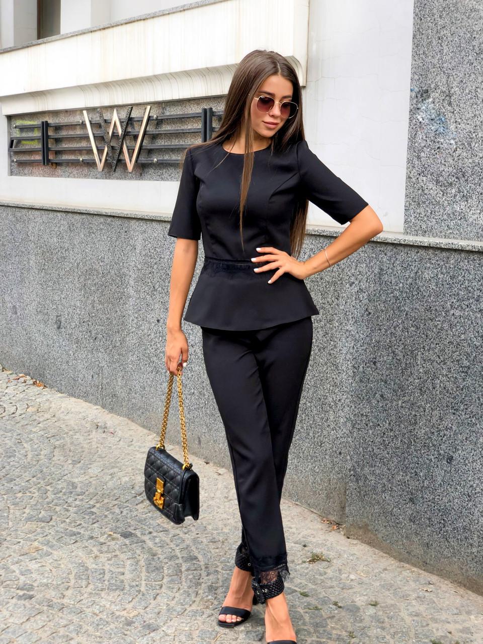 Женский стильный брючный костюм-двойка кофта и брюки /черный, 42-46, ft-448/