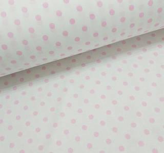 Хлопковая ткань польская горох розовый на белом 10 мм (1см)
