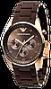 Armani Emporio стильные часы кварцевые Армани Эмпорио коричневые - Фото