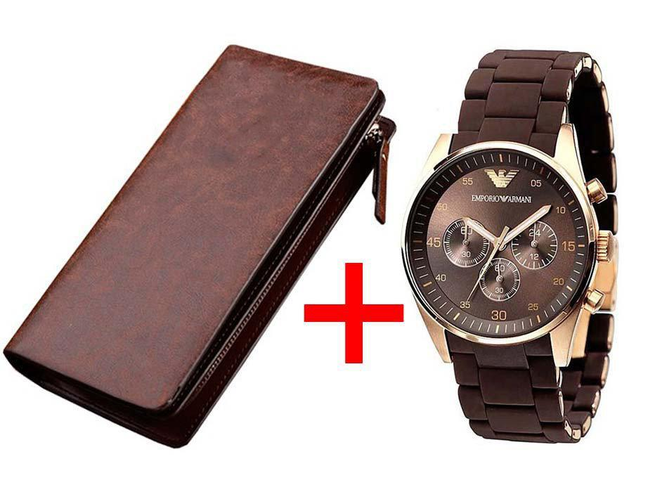 Armani Emporio стильные часы кварцевые Армани Эмпорио коричневые