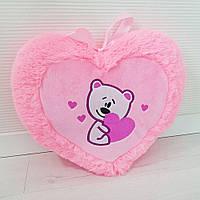 Мягкая игрушка Подушка сердце с мишкой 35см (479)