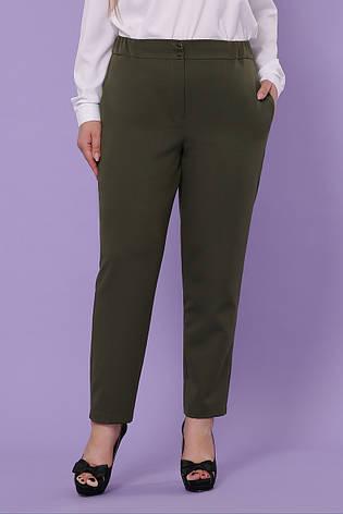 Женские классические брюки цвета хаки большие размеры, фото 2