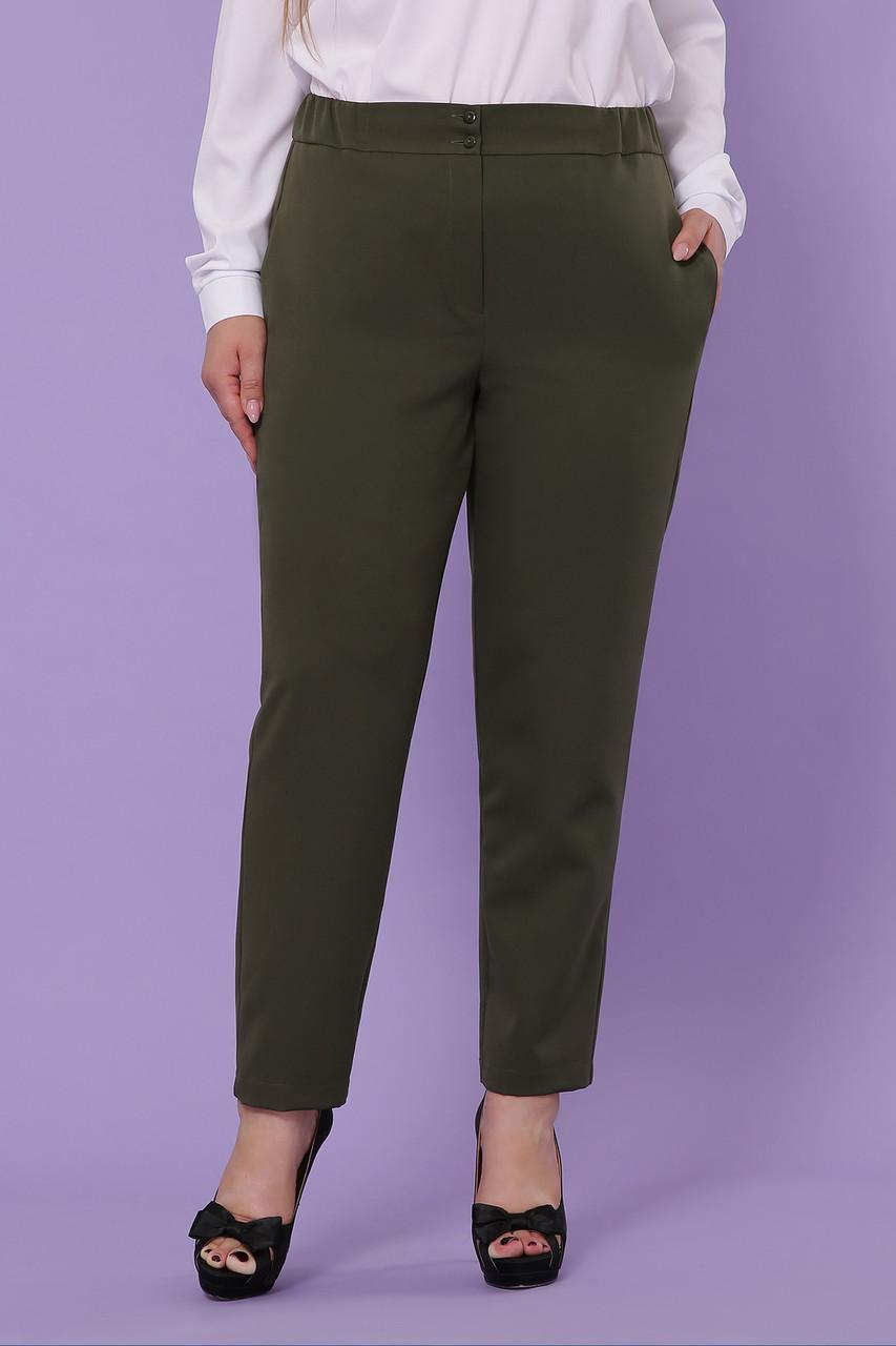 Женские классические брюки цвета хаки большие размеры