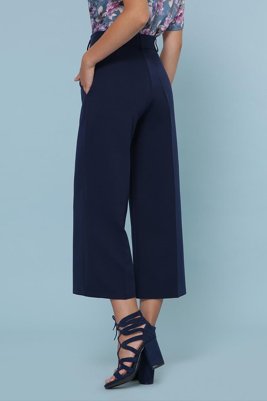 Женские однотонные с высокой посадкой синие брюки кюлоты Эби
