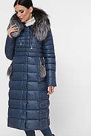 Женский зимний длинный пуховик с мехом на капюшоне Куртка 1801 цвет 67-волна