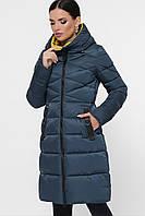 Женский зимний пуховик приталенный на молнии Куртка 18120 цвет волна