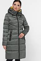Женский зимний пуховик приталенный стеганый с капюшоном Куртка 18120 цвет хаки