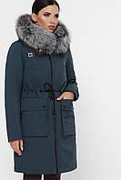 Женский зимний пуховик парка с натуральным мехом Куртка 1872 изумруд