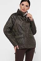 Женская демисезонная короткая куртка свободная ассиметричная Куртка 991 серо-зеленая