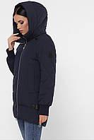 Модная женская зимняя короткая куртка прямая на змейке с капюшоном Куртка М-101 синяя