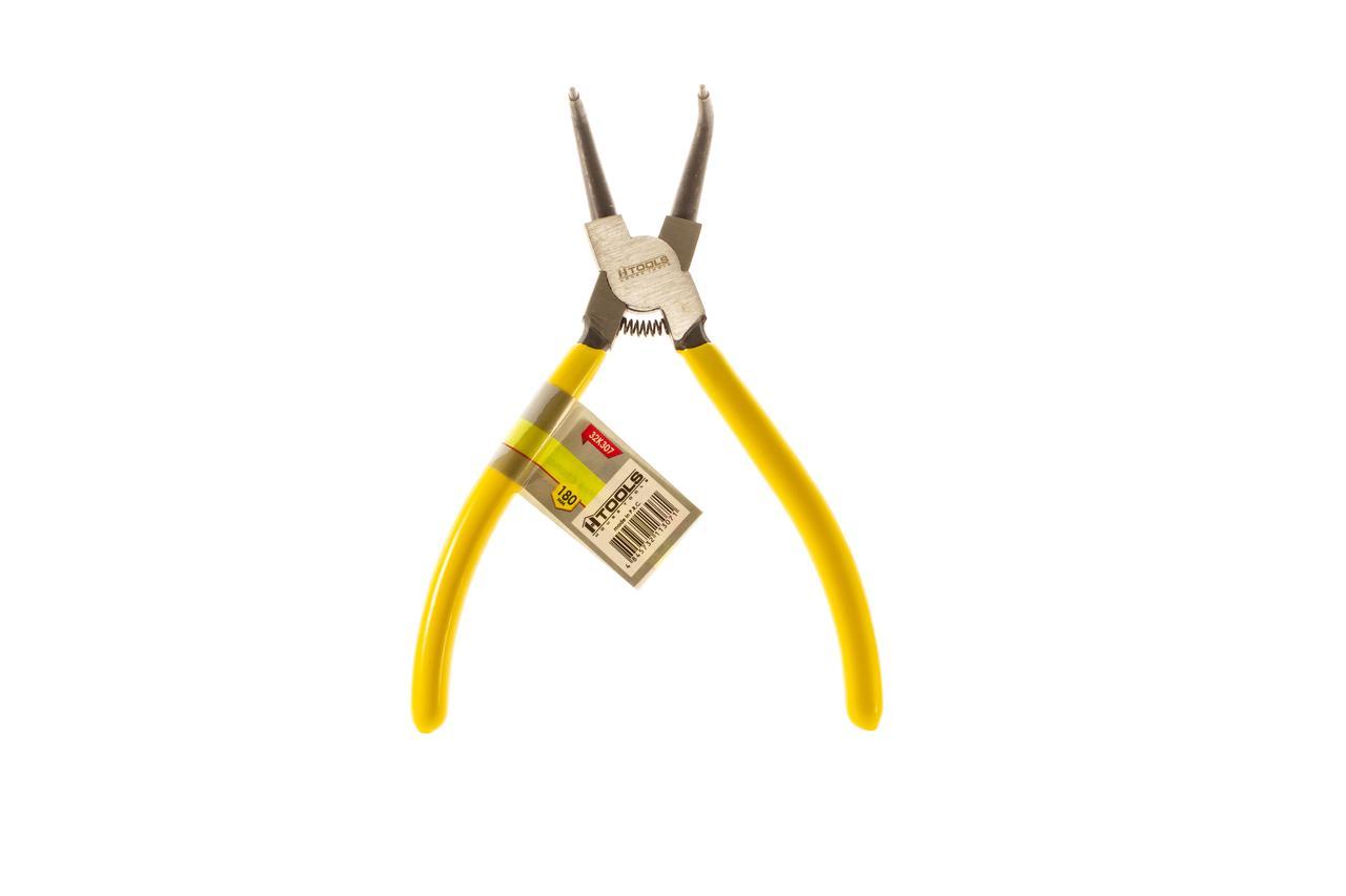 Щипцы для снятия стопорных колец изогнутые на сжим 180мм HTools, 32K307