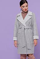 Женское короткое шерстяное пальто прямого кроя с английским воротником П-347-М-90 цвет 15-светло-серый