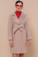 Классическое демисезонное женское шерстяное пальто короткое П-347-М-90 цвет 2-песочный