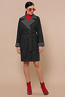 Короткое прямое женское демисезонное пальто классика П-347-М-90 цвет 25-черный