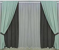Готові дорогі однотонні щільні штори на вікна 4 полотна в спальню,залу(тканинні підхоплення + 50 грн