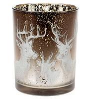 Подсвечник стеклянный с рисунком Олени, цвет - коричнево-белый градиент, 12,5 см