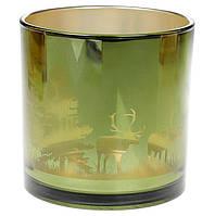 """Подсвечник стеклянный с рисунком """"Лесная гуща"""", цвет - зеленый, 15 см"""